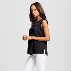 Merona Black Pleat Front Top